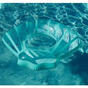 Blue Shell Sparkle Tube Ring Inflatable Pool Float