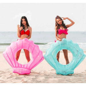 Pink Shell Sparkle Inflatable Pool Float Ring