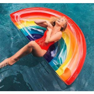 Rainbow Inflatable Pool Float Adult Lounger