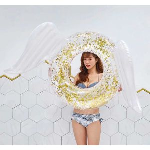 White Angel Wings Gold Glitter Sequin Tube Inflatable Pool Float Ring