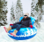 Blue Winter Snow Tube Sled with Head Rest